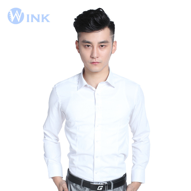 New Men's Long-Sleeved Shirt Slim Tuxedos Brand Formal Fashion Korean Slim Teen Business Professional Superior Dress Shirt B021
