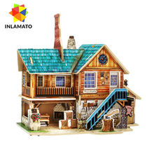 INLAMATO 3D Wood House Puzzle DIY Model Kids Toys Romantic Hand Made Toy Learning Construction DIY House Mininatures Wooden
