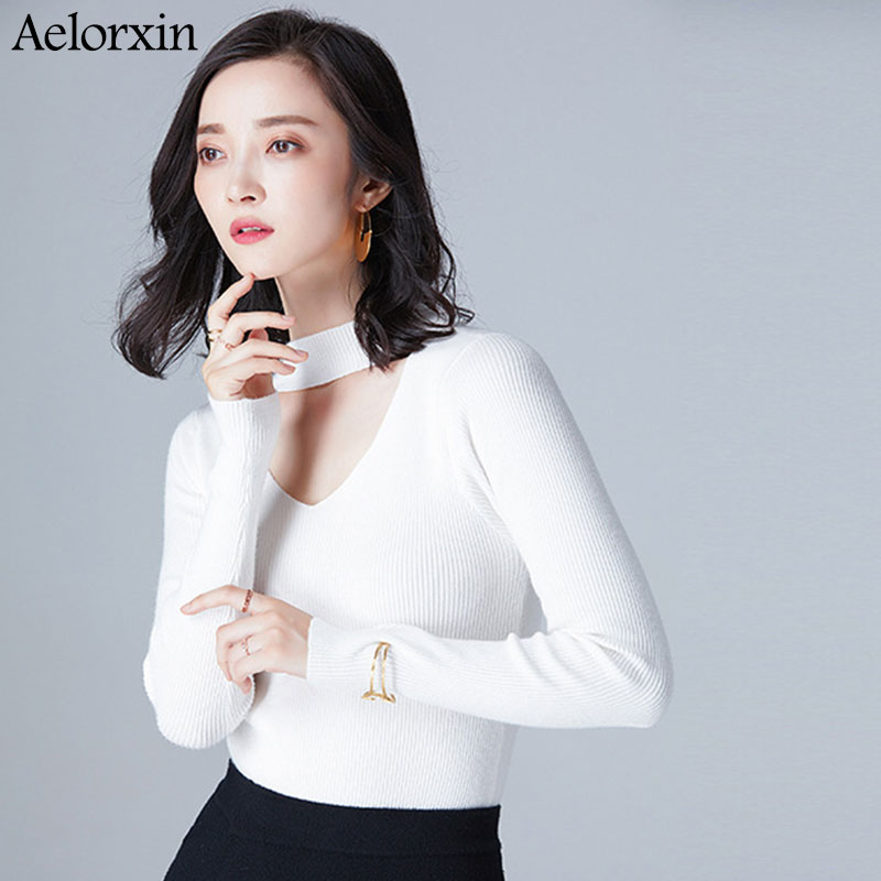 2017 Christmas Sweater Women Sweaters and Pullovers Sexy Hanging V-neck Long Sleeve Knitted Cashmere Sweater Pull Femme Hiver