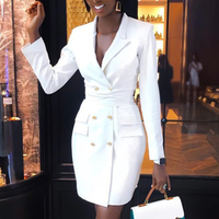 b5cefeadec7f2f 2019 Brand New Spring Women Dress Office Party Slim Dress White Button Long  Sleeve Lapel Double