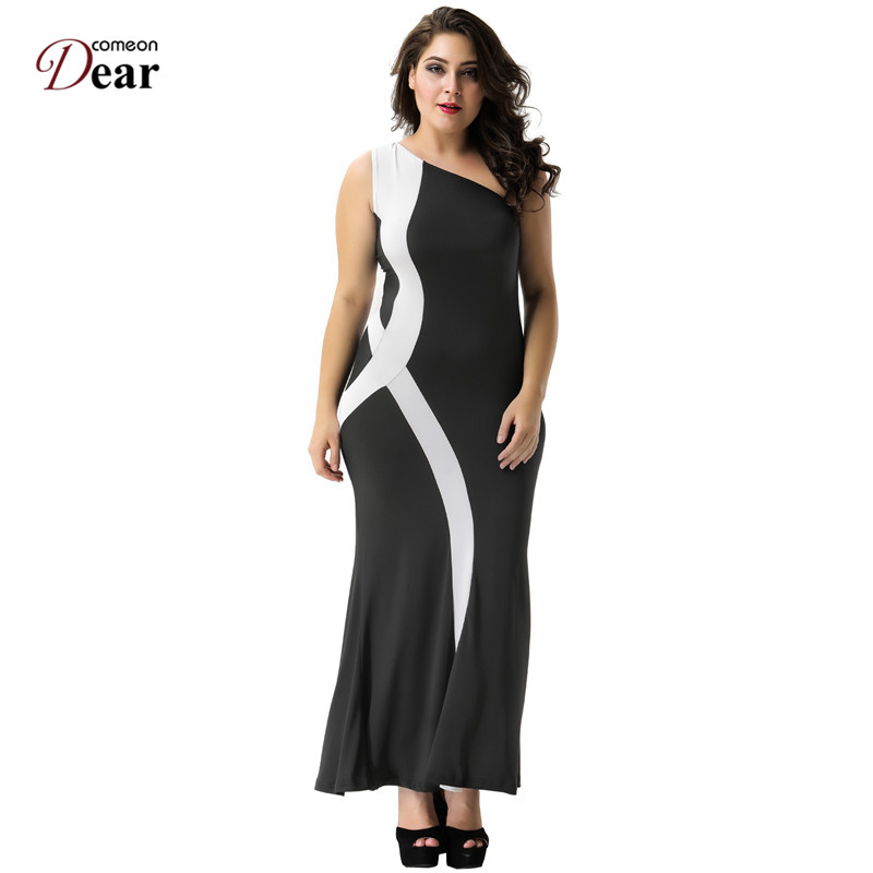 Comeondear White Striped Dress Fit and Flare RP70177 Vintage Dress Ankle  Length Sleeveless Plus Size Long Dress Maxi Black Dress-in Dresses from  Women's ...