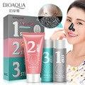 Bioaqua 3 passos removedor de cabeça preta conjunto máscara facial cosméticos coreano cuidados com a pele peeling máscara máscara cravo compõem a beleza