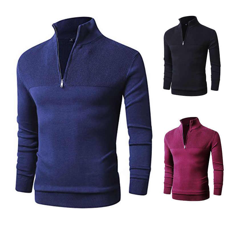 100% כותנה Pollovers סוודר גברים מזדמן סוודר למשוך Homme סרוג סוודרי רוכסן גולף ארוך שרוול סריגי 3XL נקניקיות
