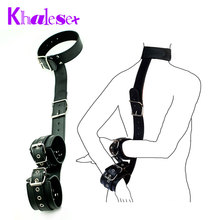 Custom Sex Toys for Women PU Leather Sexy Bondage Bound Hand and Cervical Collar, Restraint Fetish Slave Adult Game Erotic Toys