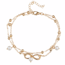 Fashion Vintage Pearl Infinity Anklet Chain Jewelry Bohemian Handmade Beaded Double Layered Ankle Bracelets for Women