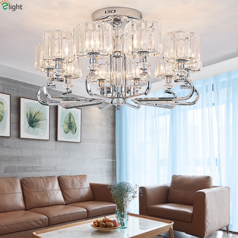 Modern Crystal Led Chandeliers Lighting Chrome Metal Living Room Led Pendant Chandelier Lights Dining Room Hanging Lamp Fixtures modern hanging chandelier lighting living room dinning crystal chandelier led lights chrome chandeliers modern crystal lighting