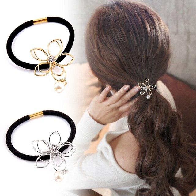LNRRABC Golden Silvery Hollow Flower Pearl Hair Tie Scrunchies Headwear  Elastic Hair Band Women Hair Accessories 0d2ce29c58b
