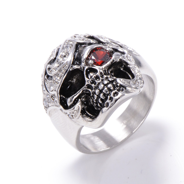 Skull Shaped Pirate Inspired Ring with Crystals