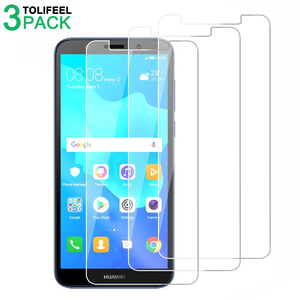 Image 1 - 3 個強化ガラス Huawei 社 Y5 2018 スクリーンプロテクター 2.5D 9 9h 保護フィルム Huawei 社 Y5 プライム 2018 にガラス