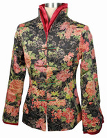 Free Shipping New Chinese Women S Polyester Satin Red Jacket Spring Flowers Coat Size S M