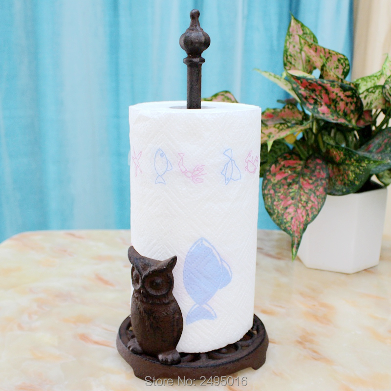 Owl Cast Iron Animal Paper Towel Holder Bath Tissue Toilet Roll Jewelry Organizer Free Standing Bronze