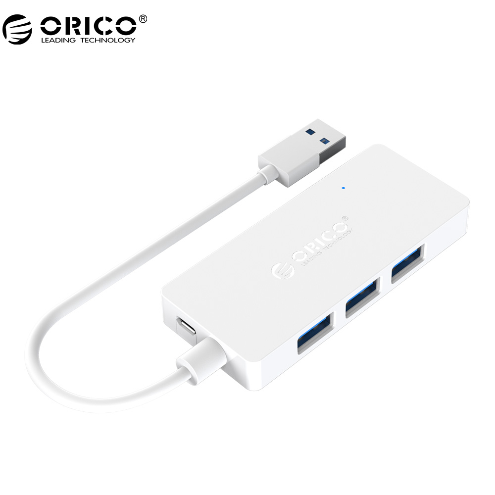 ORICO HS4U USB HUB 4 port USB3.0 HUB Rectangle Mini Hub with OTG Function for Windows Mac OS -White/Black wired muti function tea coffee cup mug warmer heater office pad with 4 port hub usb gadget for pc for mac aqjg