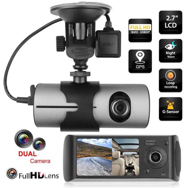 2.7 inch Dual Lens LCD HD Car Auto DVR Camera GPS Logger G-sensor Dash Cam Rearview Mirror Digital Video Registratory Recorder