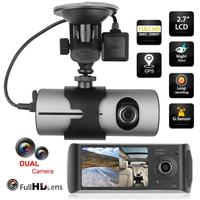2.7 inch Dual Lens LCD HD Car Auto DVR Camera GPS Logger G sensor Dash Cam Rearview Mirror Digital Video Registratory Recorder