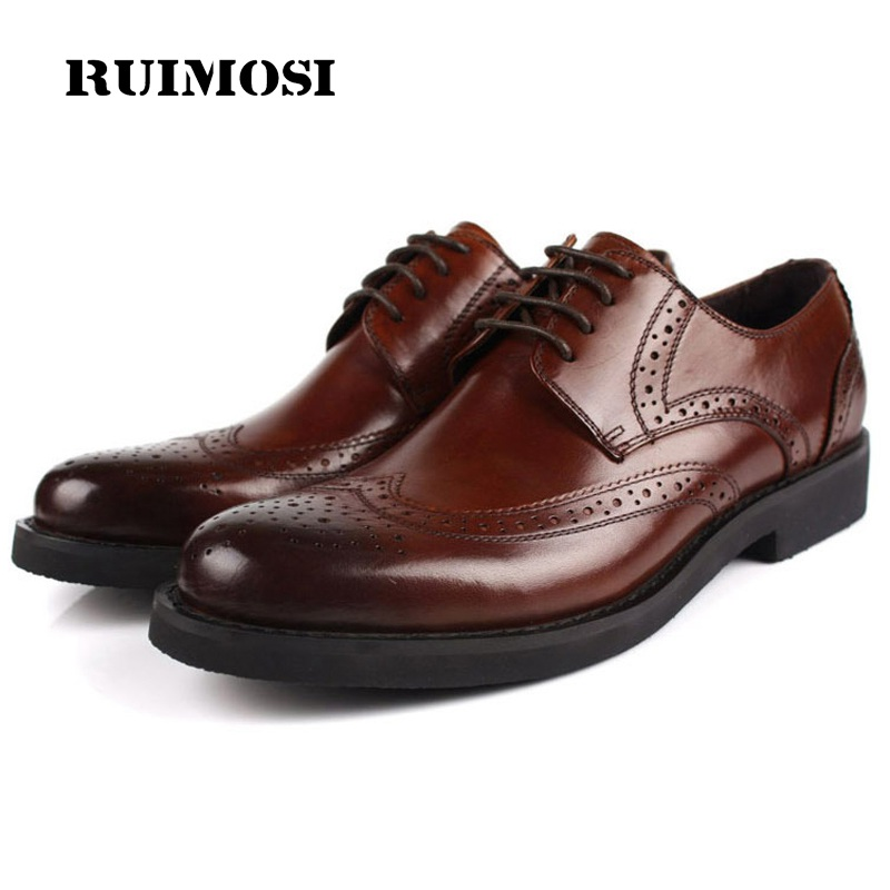 RUIMOSI British Designer Platform Man Formal Dress Shoes Vintage Genuine Leather Brogue Oxfords Round Men's Wing Tip Flats OD52