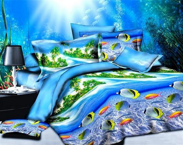 Sea Kids Ocean Bedding Sets 3d Duvet Covers Bedspreads Bed Sheet Linen  Quilt Queen Full Size Double Doona Bedsheet Palm Tree