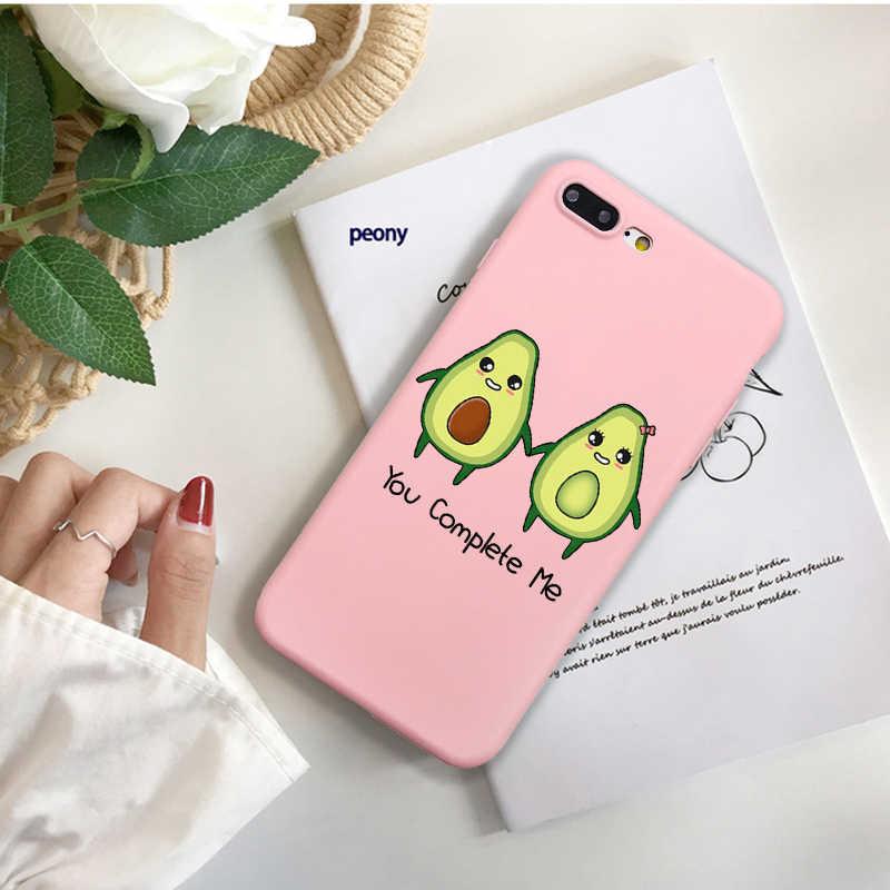 جراب هاتف لطيف Coque آيفون XR 6 6S Plus X 5 SE Plus حافظة كارتون الصيف الفاكهة الأفوكادو الوردي غطاء هاتف آيفون 8 7 Plus