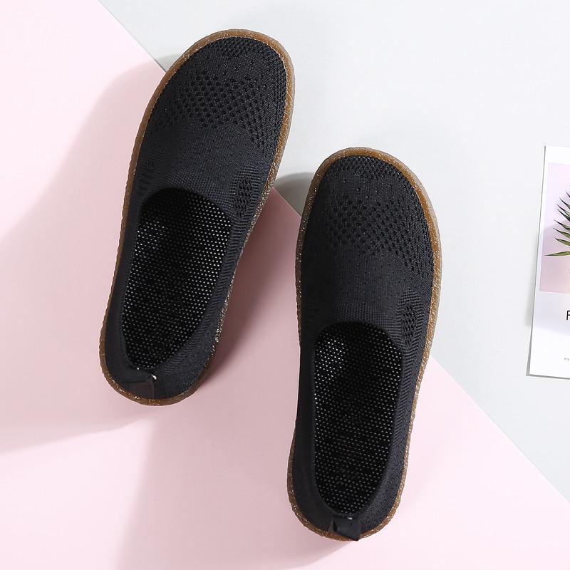 white Chaussures Glissent 2018 Dames Maille Ballerines Mocassins Femmes Plat Foxondo Sur Sneakers Respirant Black Automne iOPXuZkT