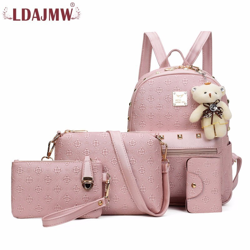 LDAJMW Fashion Women Backpack 4pcs/set Composite Bag Ladies Leather Backpacks Teenage Girls School Bags Women Bags
