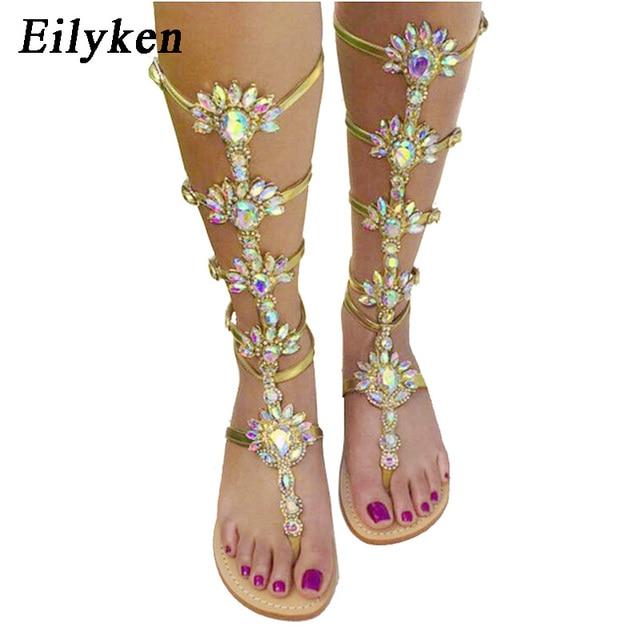 Chaussures Genou De Gladiateur Femme Or Été Appartements Sandale Bottes Plage Cristal Boucle Strass Haute Eilyken Sangle Bohême Style beHYEDW29I