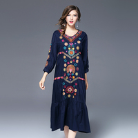 National Wind Heavy Industry Embroidery Dress Large Yards Loose Section Autumn Women S Clothing Wind Wind