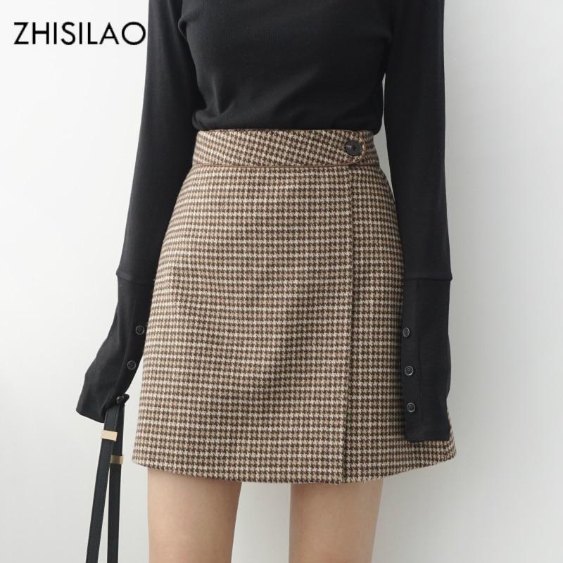 ZHISILAO 2018 Woman Skirts Woman Pencil Skirt Lolita Bodycon Sexy Winte High Waist Vintage Petticoat Lattice Plaid Skirt Woolen
