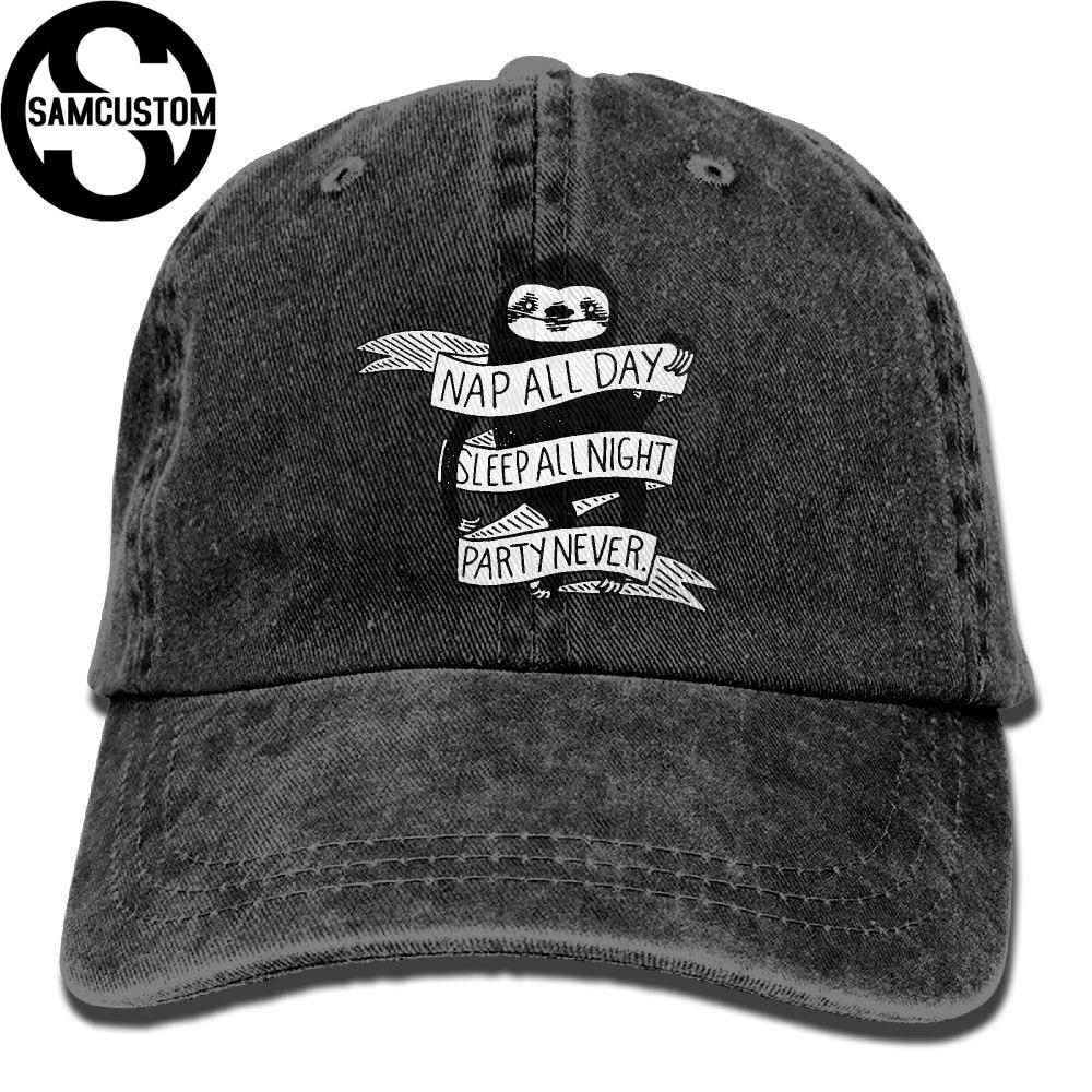 SAMCUSTOM NAP ALL DAY SLEEP sloth 3D Creative personality Washed Denim Hats Autumn Summer Men Women Golf Sunblock Hockey Caps