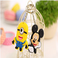 20PCS Hot Sale Lovely Animal Cartoon TO.US Bear Mickey Hello Kitty Silicone Key ring Keychain Women Children Gifts Accessories