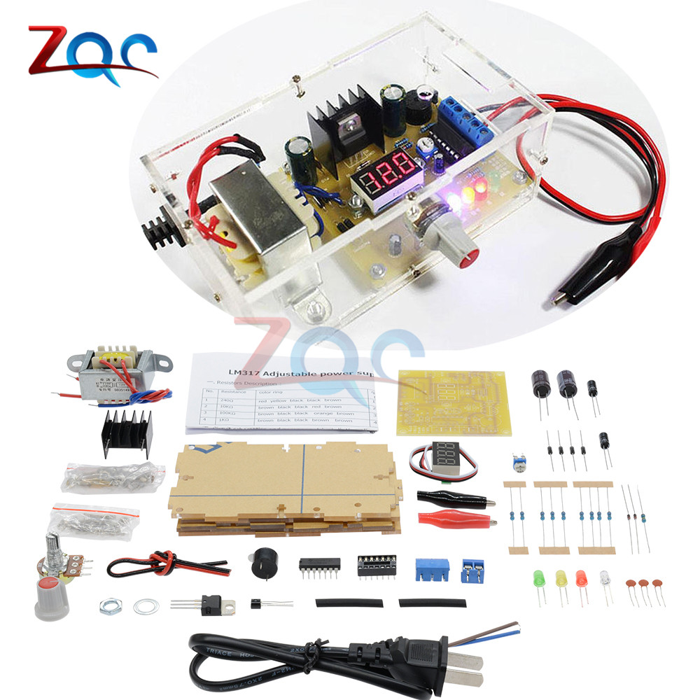 Diy Kit Lm317 Adjustable Voltage Regulator 220v To 125v Step Power Supply Circuit With Variable Output Of 12 30v Down Module Pcb Board Electronic Kits In Regulators Stabilizers