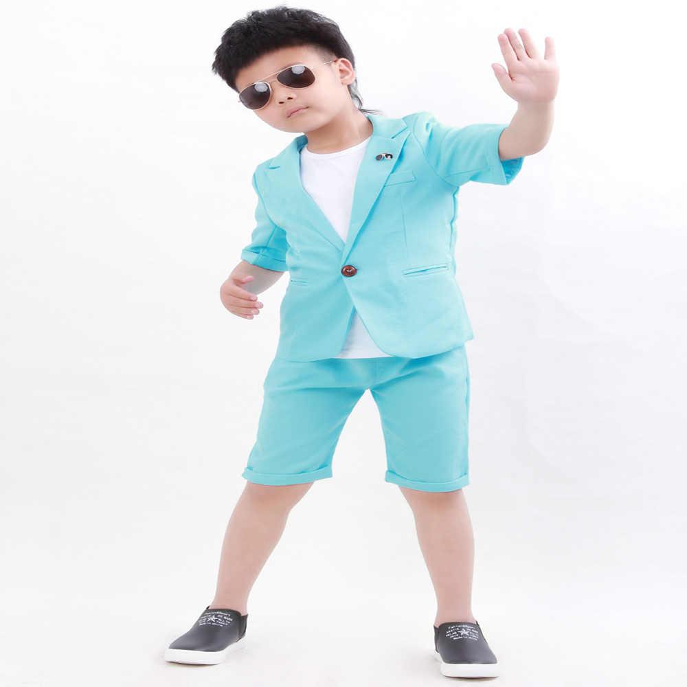 בני חליפת עבור חתונות ילדים קיץ נשף מסיבת סט פרח בני מקטורן רשמי חולצה קצר 3 Pcs ילדי ביצועים תלבושות