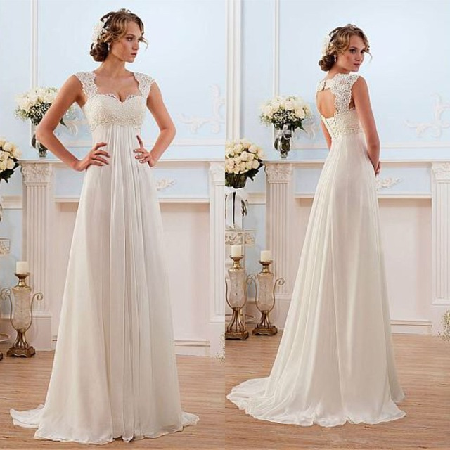 Sweetheart Wedding Dress With Cap Sleeves: Glamorous Chiffon Sweetheart Neckline Empire Waistline