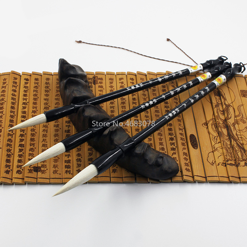 3Pcs Woolen Hair Chinese Writing Pen Calligraphy Brush Set Artist Drawing Brush For Art Drawing Painting Supplies Ideal Gift