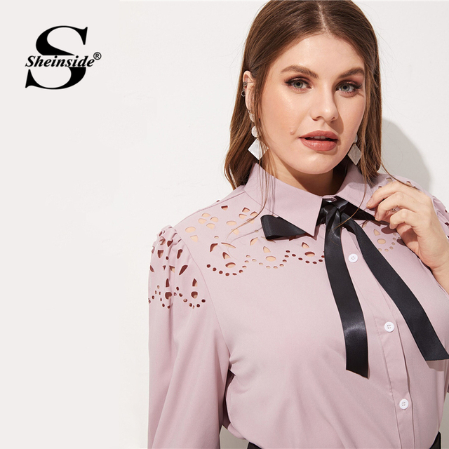 Sheinside Plus Size Pink Hollowed Out Blouse Women 2019 Spring Half Sleeve Blouses Ladies Elegant Solid Bow Tie Neck Top 4