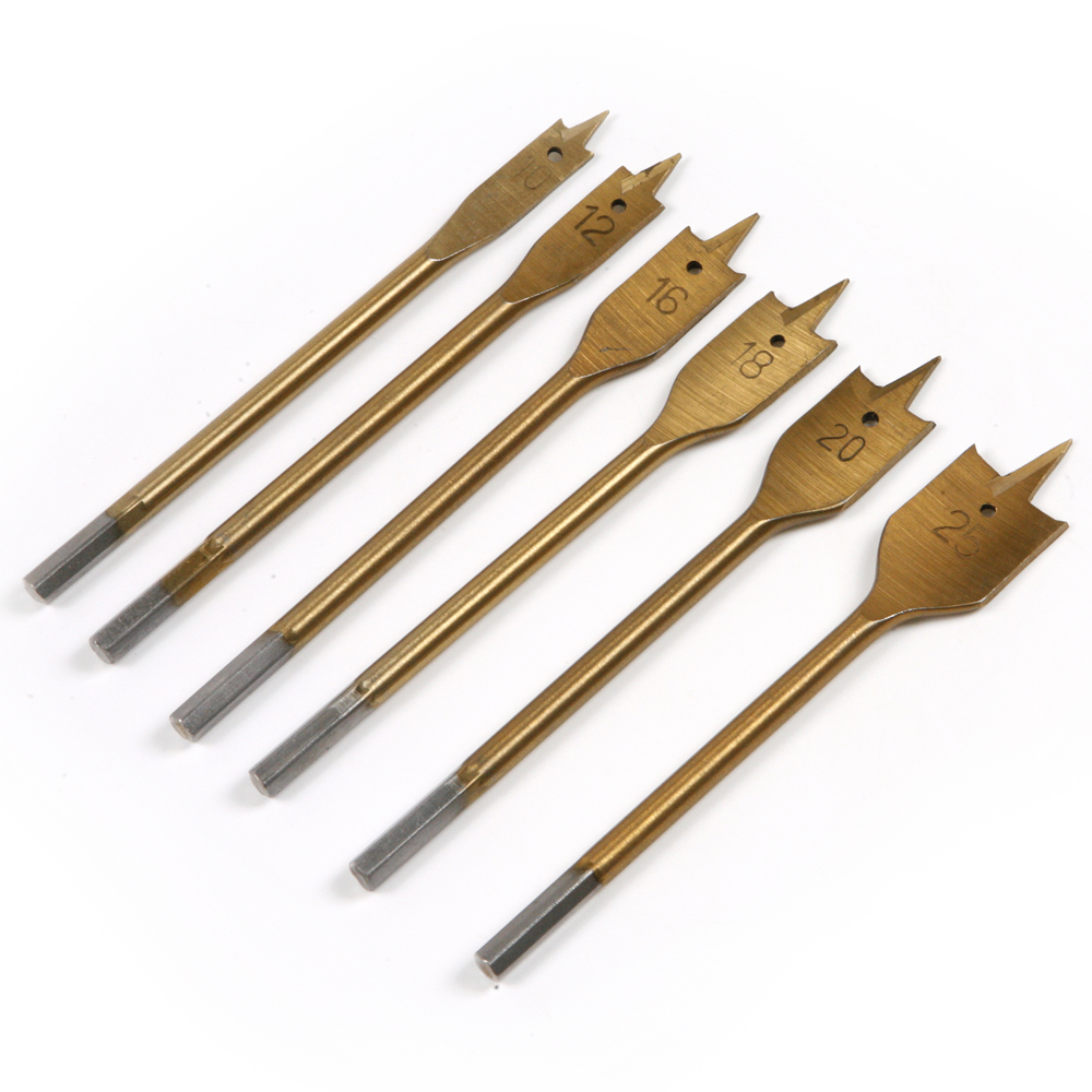 1Pcs 6mm Shank Spade Drill Bit Titanium Coated Hex Shank Carpentry Opening Hole And Drilling Hole Diameter 10mm Flat Drill Bits