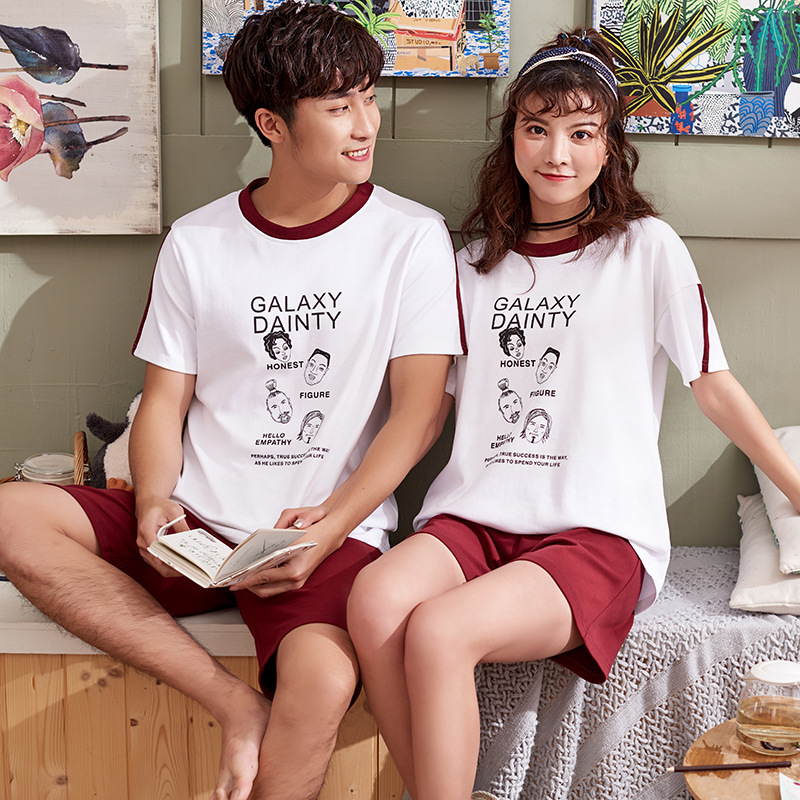 Women's Pajamas summer Cotton Cartoon Sleepwear Women Couple Lounge Pyjamas lovers Men Sleep Short sleeve Pajama Set