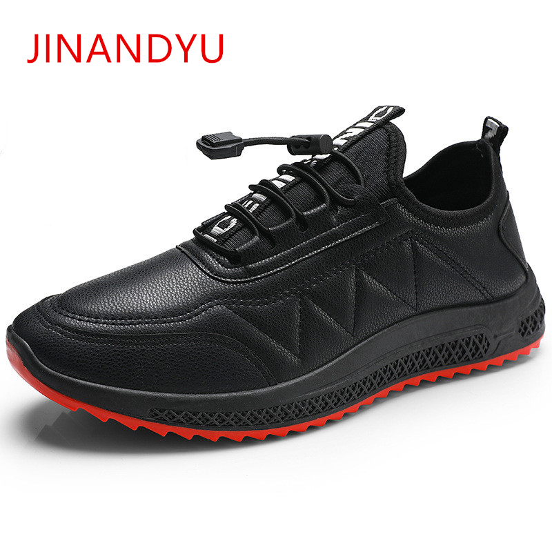 Mens Leather Loafers Shoes Luxury All Black Men's Casual Leather Shoes Men New High Quality Breathable Sneakers Fashion Flats