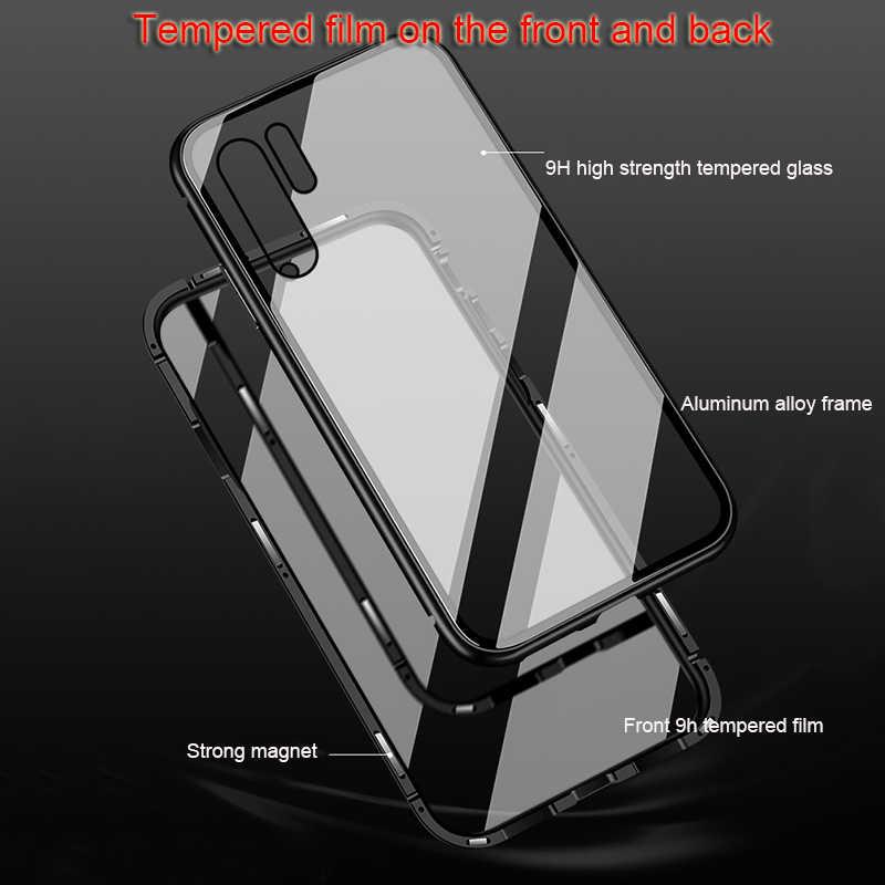 المغناطيسي حقيبة لهاتف سامسونج غالاكسي a50 a30 حالة واضحة الزجاج الغطاء الخلفي الصعب على ل غالاكسي أ 50 30 الإطار المعدني واقية كوكه