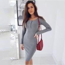 e1adcca5531ce36 2018 Женская Осенняя одежда сексуальное облегающее Мини-Платье облегающее  однотонное платье с круглым вырезом на груди с пуговиц.
