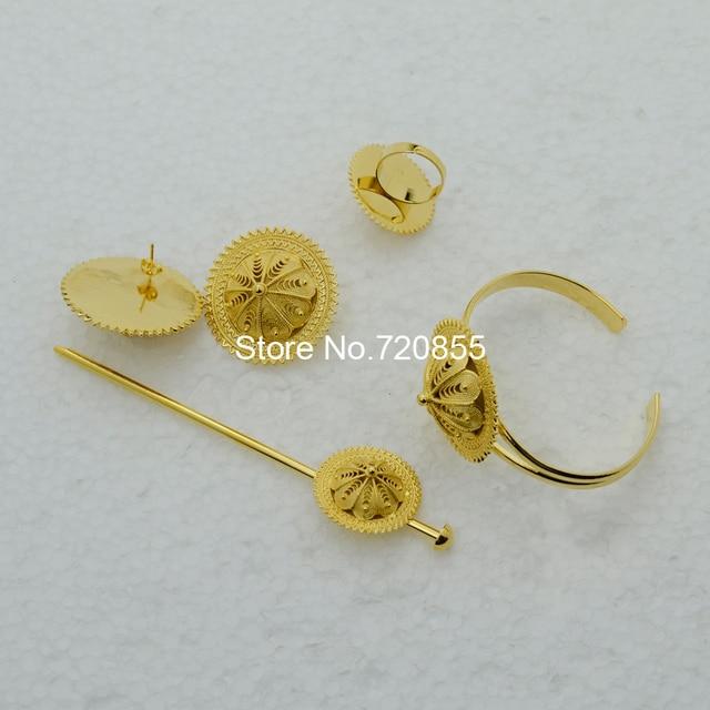 BIG SIZE ethiopian Bridal Wedding Jewelry set Necklace/Hair Piece/Bangle/Hair Pin/Earrings/Ring Eritrea Habesha African #006102