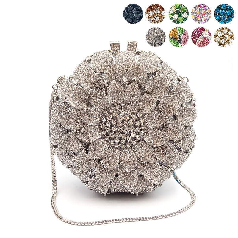 Women evening party bag diamonds crystal clutch bridal wedding party wallet purse handbag elegant sun flower