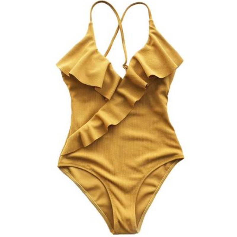 Solid Color  Swimsuit Yellow V Neck Tight Swimsuit Ruffle Ladies Beach Bathing Suit Swimwear