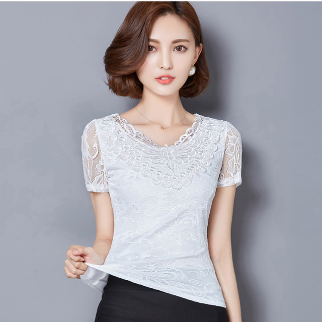 New Summer Lady White Lace Blouse Plus Size S-5XL New Korean Clothing 2017 Embroidery Women Fashion Shirts