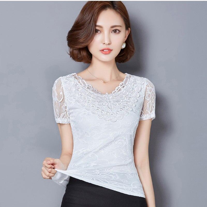 New Summer Lady White Lace font b Blouse b font Plus Size S 5XL New Korean