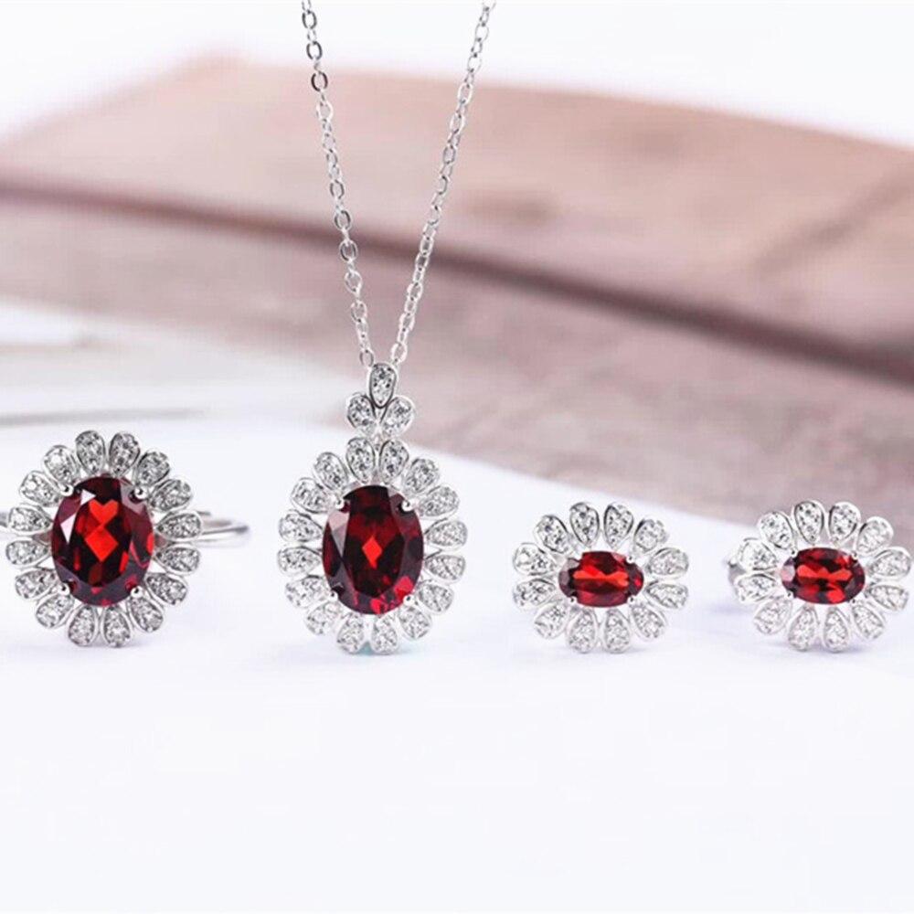 Boucles d'oreilles à la mode en argent sterling 925 naturel grenat rouge collier pendentif bague ensemble de bijoux pour mariage de fiançailles femme - 2