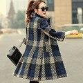 Nueva venta caliente de la mujer otoño invierno suelta abrigo de Lana para mujer Británica plaid larga sección de lana abrigos