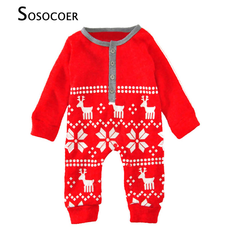 SOSOCOER Baby Rompers Costume 2017 Winter Warm Cartoon Deer Long Sleeve Newborn Romper For Boy Girl Jumpsuit Cute Baby Clothes newborn rompers baby boy romper winter long sleeve cotton clothing toddler baby clothes jumpsuit warm cartoon baby boys pajamas