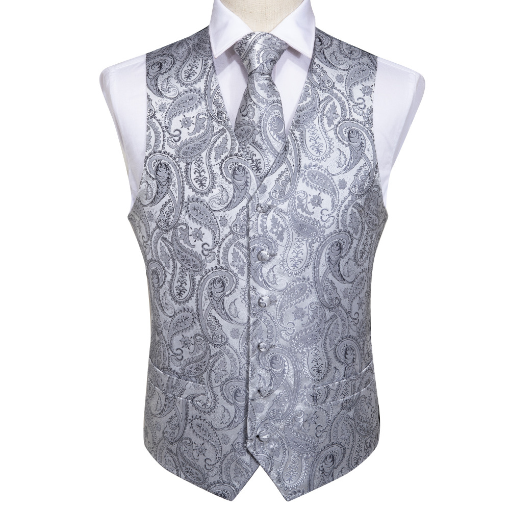 748a09f3dcd3c Men's Classic Party Wedding Silver Paisley Jacquard Waistcoat Vest Pocket  Square Tie Suit Set Pocket Square