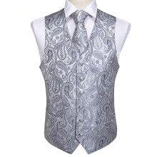 Мужские Классические Вечерние серебряные жаккардовые жилеты с узором пейсли, жилеты с карманами и квадратным галстуком, MJ-103