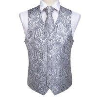 Men's Classic Party Wedding Silver Paisley Jacquard Waistcoat Vest Pocket Square Tie Suit Set Pocket Square Set MJ 103