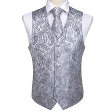 Homme classique fête mariage argent Paisley Jacquard gilet poche carré cravate costume ensemble poche carré ensemble MJ 103